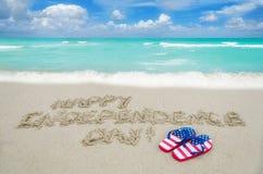 Fondo di giorno di U.S.A. di indipendenza sulla spiaggia Fotografie Stock