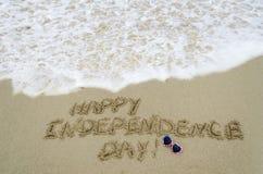 Fondo di giorno di U.S.A. di indipendenza sulla spiaggia Immagini Stock