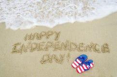 Fondo di giorno di U.S.A. di indipendenza sulla spiaggia Fotografie Stock Libere da Diritti