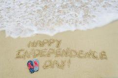 Fondo di giorno di U.S.A. di indipendenza sulla spiaggia Immagine Stock