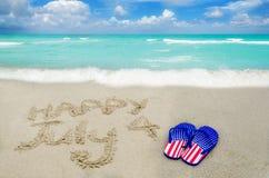 Fondo di giorno di U.S.A. di indipendenza sulla spiaggia Fotografia Stock Libera da Diritti