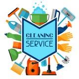 Fondo di governo della casa con le icone di pulizia L'immagine può essere usata sui libretti di pubblicità Fotografie Stock