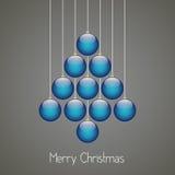 Fondo di gray della cordicella dell'albero delle palle di Natale Fotografia Stock