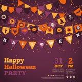 Fondo di Halloween con Garland Decorations Immagini Stock