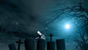 Fondo di Halloween con gli alberi spettrali e lo scheletro Immagini Stock Libere da Diritti