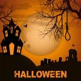 Fondo di Halloween con gli alberi spettrali ed il cimitero della casa Immagine Stock Libera da Diritti