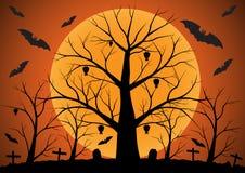 Fondo di Halloween con i pipistrelli e gli alberi morti Fotografia Stock