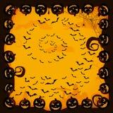 Fondo di Halloween con i pipistrelli e le zucche Fotografia Stock