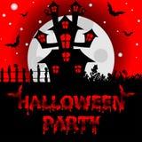 Fondo di Halloween con i pipistrelli terrificanti di notte e della Camera, EL di progettazione Fotografia Stock Libera da Diritti