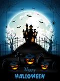 Fondo di Halloween con il cimitero ed i pipistrelli Fotografie Stock