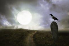 Fondo di Halloween con il corvo e la tomba immagini stock