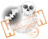 Fondo di Halloween con il cranio ed il pipistrello della zucca Fotografia Stock Libera da Diritti