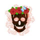 Fondo di Halloween con il cranio nero Immagine Stock