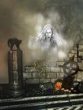 Fondo di Halloween con il fantasma Immagine Stock