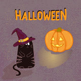 Fondo di Halloween con il gatto nero e la zucca divertenti Fotografia Stock Libera da Diritti