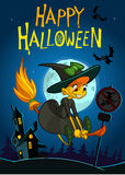 Fondo di Halloween con il volo sveglio della strega sulla sua scopa su una notte della luna piena fotografia stock