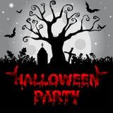 Fondo di Halloween con l'albero terrificante ed i pipistrelli, sul MOO del fondo Immagini Stock Libere da Diritti