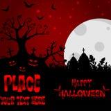 Fondo di Halloween con l'albero terrificante ed i pipistrelli, sul MOO del fondo Immagini Stock
