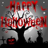 Fondo di Halloween con l'albero terrificante ed i pipistrelli, sul MOO del fondo Fotografie Stock
