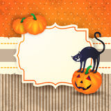 Fondo di Halloween con l'etichetta, le zucche ed il gatto Fotografie Stock Libere da Diritti