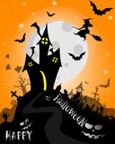 Fondo di Halloween con la Camera terrificante ed i pipistrelli, su fondo Mo Fotografia Stock