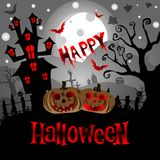 Fondo di Halloween con la Camera terrificante ed i pipistrelli, su fondo Mo Immagini Stock Libere da Diritti