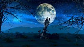 Fondo di Halloween con la mano dello zombie Fotografia Stock Libera da Diritti