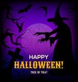 Fondo di Halloween con la siluetta della strega Fotografia Stock