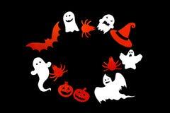 Fondo di Halloween con la struttura del fantasma, zucche, pipistrello, ragno fotografia stock libera da diritti