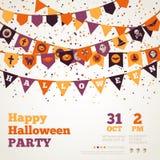 Fondo di Halloween con le bandiere Immagini Stock Libere da Diritti