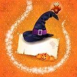 Fondo di Halloween con le scintille ed il cappello Immagini Stock