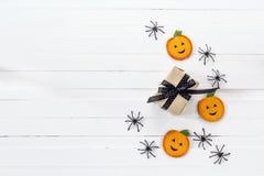 Fondo di Halloween con le zucche e lo spide decorativi del contenitore di regalo Immagini Stock Libere da Diritti
