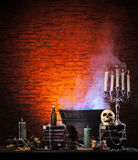 Fondo di Halloween con molti elementi Fotografia Stock Libera da Diritti