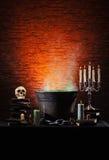 Fondo di Halloween con molti elementi Fotografie Stock