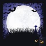 Fondo di Halloween della luna piena con i pipistrelli, l'incrocio e la luna piena Fotografie Stock Libere da Diritti