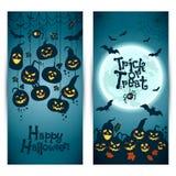 Fondo di Halloween delle zucche allegre con la luna Bandiere impostate Immagini Stock