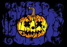 Fondo di Halloween di colore scuro del blu della zucca Immagini Stock