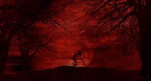 Fondo di Halloween di lerciume con gli alberi spettrali illustrazione di stock