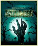 Fondo di Halloween di verde della mano del mostro dello zombie Immagini Stock