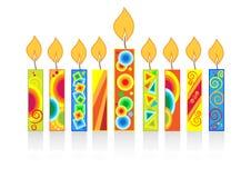 Fondo di hanukkah con le candele Fotografie Stock