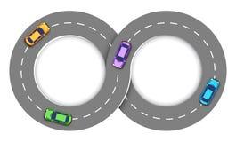Fondo di Infographic della strada con le automobili Fotografie Stock Libere da Diritti
