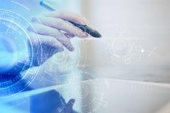 Fondo di ingegneria con il progetto degli ingranaggi sullo schermo virtuale Innovazione di affari e concetto moderno di tecnologi immagine stock libera da diritti