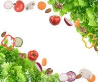 Fondo di insalata mista con i pomodori, funghi, noci, mandorle Immagini Stock Libere da Diritti