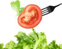 Fondo di insalata mista con una forcella Fotografia Stock