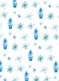 Fondo di inverno con i fiocchi di neve e gli alberi di Natale illustrazione vettoriale