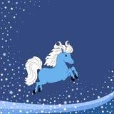 Fondo di inverno con il cavallo blu Fotografia Stock