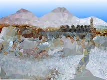 Fondo di inverno con il paesaggio ed il castello della montagna Fotografie Stock