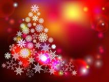Fondo di inverno con l'albero ed i fiocchi di neve decorativi Fotografie Stock Libere da Diritti