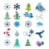 Fondo di inverno con la figura pattini e fiocchi di neve Può essere l'uso come l'insegna o manifesto Illustrazione di vettore Fotografie Stock