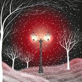 Fondo di inverno con la lanterna d'annata in un parco innevato illustrazione vettoriale